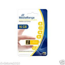 1 MediaRange USB nano flash drive bastone paper-clip GIALLO 16GB MR976