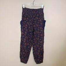 Aerie Viscose Harem Style Pants Blue Orange Pockets Smocked Waist Size Small