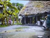 Grass Hut in Samoa, Magic Lantern Glass Slide, (Vintage Color Image)
