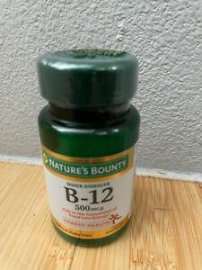 Nature's Bounty Vitamin B-12 500 mcg 100 Quick Tablets EXP 12/23