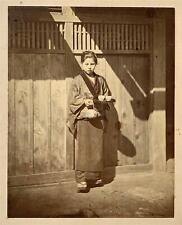 Felice Beato -Original Albumen Photograph -Japanese Girl Serving Tea -circa 1865