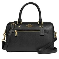 NWT COACH Rowan Satchel Crossbody Shoulder Bag Classic Zip Black Gold F79946