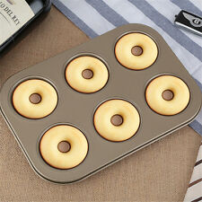 6 Cup Gold Nonstick Carbon Steel Doughnut Pan Donut Bagel Tray Bake Baking Mold