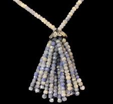 Sapphire Diamond Necklace Raw Cut Sapphire Beads Tassel Sterling Top Diamonds