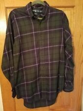 Ralph Lauren long sleeve blake plaid 100% cotton mens medium shirt