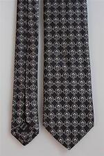 IKE BEHAR Silk Tie. Eye Catching Dark Charcoal w Silver Floral