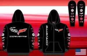 Size M Corvette Racing Printed Logo Hoodie Zipper  Cotton JH Design MD