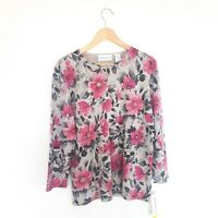 NEW Alfred Dunner Womens Size M Grey Pink Floral Print Beaded Long Sleeve Top