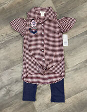 One Step Up Pink & Burgundy Shepherd Check Top w/ Leggings NWT Girl's Size M 5/6