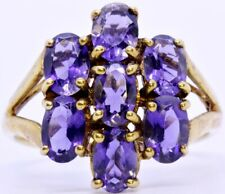 10K Solid Yellow Gold Split Shank Oval Amethyst Cluster Cocktail Ring Size 7.75
