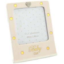 Mad Dots Baby Diamante Heart Detail Ceramic Photograph Photo Picture Frame Pink