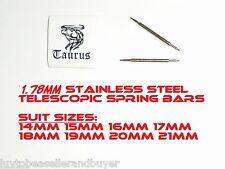 TAURUS 1.78mm SS TELESCOPIC SPRING BAR 14mm 15mm 16mm 17mm 18mm 19mm 20mm 21mm