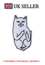 Cat Iron / Sew On Embroidered Patch Badge Middle finger pussy Embroidery Motif