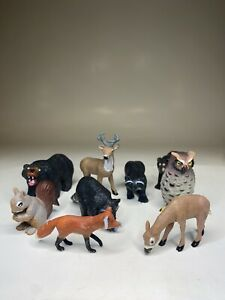 "K&M Zoo Animal Vintage 9pc PVC Lot 3"" Figures Bear Owl Deer Realistic Cat EUC"
