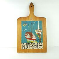 MCM Nevco Cutting Board Nautical Sailboats 1959 Retro Mid Century Modern