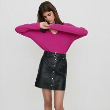 Janaille Leather BELTED A-LINE skirt short Maje black size 36 NEW