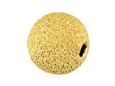 9ct Yellow Gold Laser Cut Frost Sparkle Bead 4mm - 2 Hole - Findings Jewellery