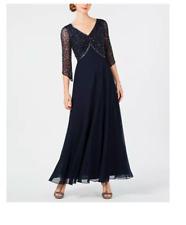 J Kara Embellished 3/4-Sleeve Chiffon Gown Size 12 Navy V Neck Line 5206NM $269
