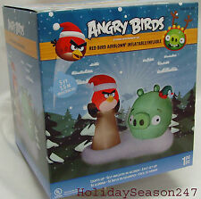 5Ft Airblown Inflatable Lighted Holiday Christmas Decor Red Angry Birds Scene