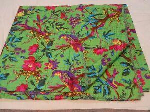 Green Bird Print Print Double Size Kantha Quilt Bedspread Indian Bedding Throw