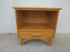 RARE Nightstand Bamboo Rattan Cottage Table Bed Commode Mid-century Modern