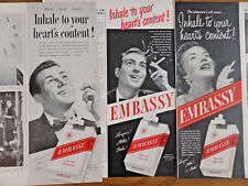 1949 Embassy Cigarettes AdInhale to Your Heart's Content Lot of 3 Different Ads