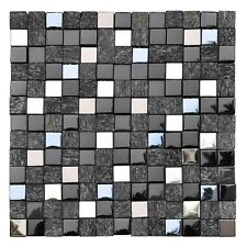 Cubic Black 12 x 12 Spanish glass mosaic tile for Backsplash or shower