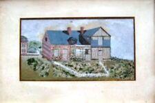 Ancien gouache maison briques et colombages