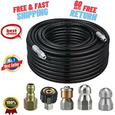 Sewer Jetter Kit Pressure Washer 100 Ft Reel Drain Cleaning Hose Jet Ship Nozzle
