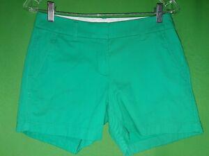 """6336) NWOT J CREW 0 green chino shorts 100% cotton 5"""" inseam 2020 new 0"""