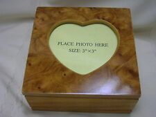 Mele Jewelry Box Oak Finish Burl Picture Frame Top Jewelry Case Mothers Day