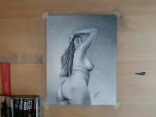 Original 11x14 Inch Charcoal drawing Of Nude Woman Done By Artist ARTuro