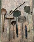 LOT 7  Wood  Metal Utensils Farmhouse Kitchen Wooden Spoon PRIMITIVE TOOLS