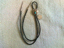 Turquoise Bear Paw Bolo Tie in Sterling Silver w/Leather Cord  Navajo