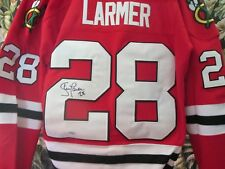 Autograph Steve Larmer #28 Blackhawks signed Red Jersey Large COA