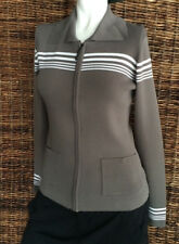 BCBG MaxAzria Gray Cardigan Knit Sweater Size XS Front Zipper Retail $210