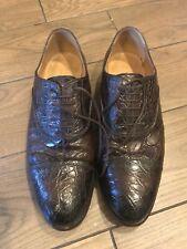 $1950 Gucci Chocolate Brown Crocodile Shoe  9 G / US 10