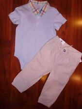12 18 M BABY GAP Blue Polo Plaid Bodysuit Tan Pants Outfit NWT