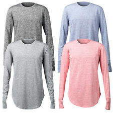 Long Sleeve Men's Extended Hip Hop T-Shirt Streetwear Longline Tee Apparel Top