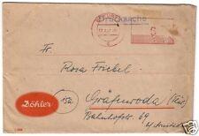 PFS, Erfurt 1, 17.6.47, UB: c, aptierter Wertstempel von vor 1945