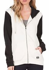 2016 NWT WOMENS VOLCOM LIVED IN FULL ZIP UP HOODIE $55 S vintage white black