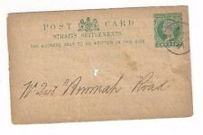 1891 Penang Straits Settlements Postal Card Local