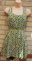 PURPLE BRAND YELLOW BLUE FLORAL ROSES STUDDED A LINE MINI SUMMER DRESS M
