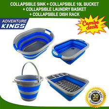 Adventure Kings Collapsible Sink + Collapsible 10L Bucket + Collapsible Laundry