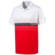 New Puma Volition Horizon High Risk Red/Bright White Golf Polo Mens Medium (M)