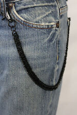 New Men Black Chunky Metal Thick Wallet Chain Link KeyChain Biker Jeans Strong