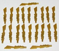 Lego Lot of 20 New Pearl Gold Minifig Weapon Swords Jagged Edges Parts
