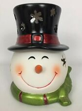QVC Porcelain Holiday Snowman Luminary W/ Flameless LED Pillar Candle W/ Timer
