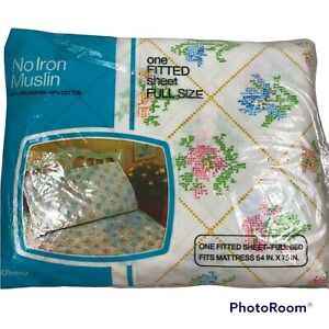 Vintage JCPenney No Iron Muslin Full Fitted Sheet Cross Stitch Floral NOS