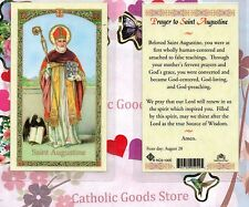 Saint St. Augustine with Prayer to St Augustine - Laminated Holy Card